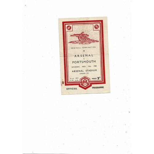 1948/49 Arsenal v Portsmouth Football Combination Football Programme