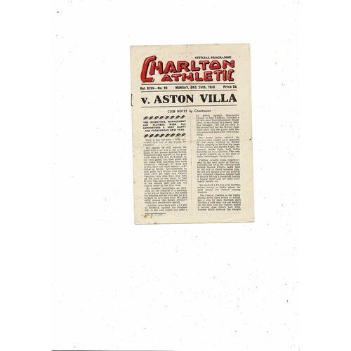1950/51 Charlton Athletic v Aston Villa Football Programme