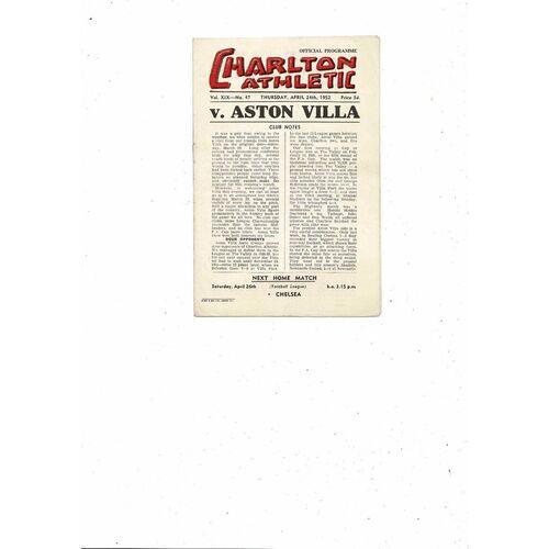 1951/52 Charlton Athletic v Aston Villa Football Programme