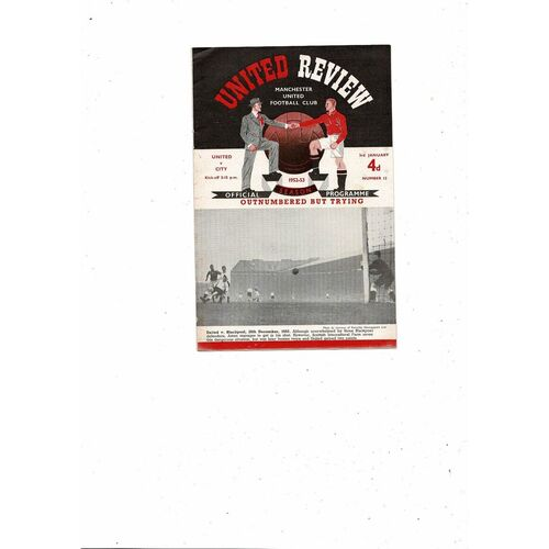 1952/53 Manchester United v Manchester City Football Programme + Press Cuttings