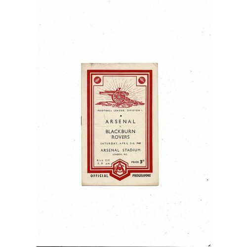 1947/48 Arsenal v Blackburn Rovers Football Programme