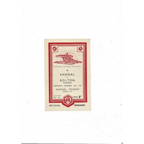 1947/48 Arsenal v Bolton Wanderers Football Programme