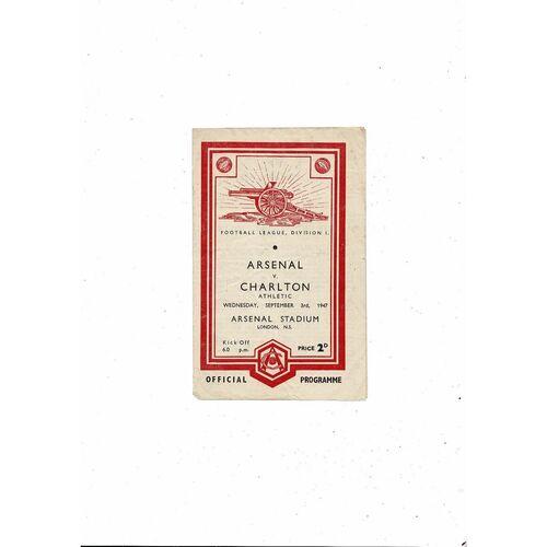 1947/48 Arsenal v Charlton Athletic Football Programme