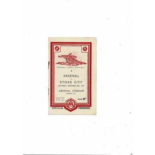 1947/48 Arsenal v Stoke City Football Programme