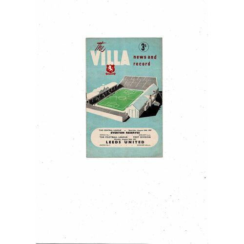 1957/58 Aston Villa v Leeds United Football Programme