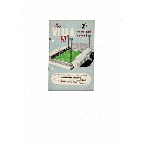 1958/59 Aston Villa v Tottenham Hotspur Football Programme