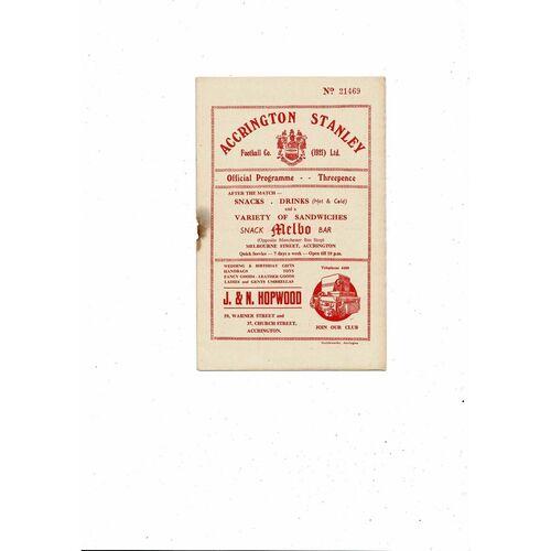1955/56 Accrington Stanley v Darlington Football Programme