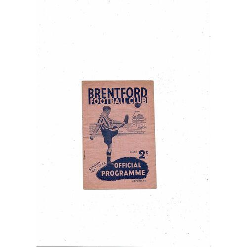 1947/48 Brentford v Barnsley Football Programme