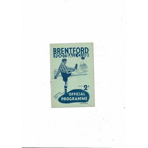 1947/48 Brentford v Chesterfield Football Programme