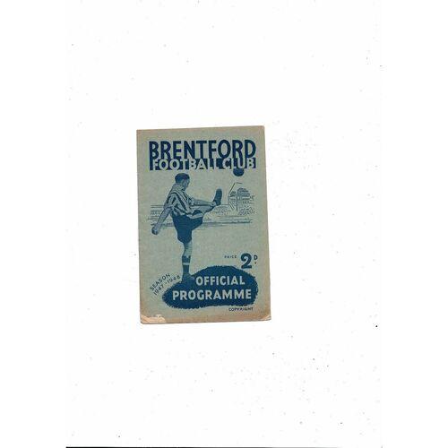 1947/48 Brentford v Leicester City Football Programme