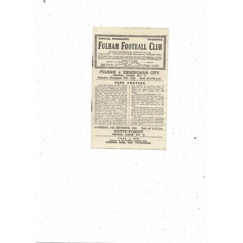 1946/47 Fulham v Birmingham City Football Programme
