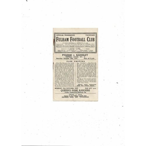 1946/47 Fulham v Barnsley Football Programme