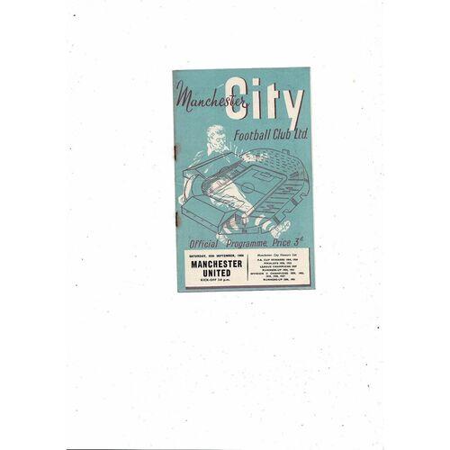 1954/55 Manchester City v Manchester United Football Programme