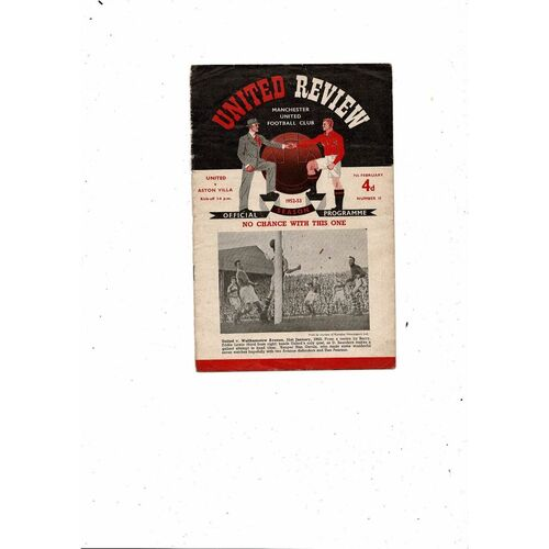 1952/53 Manchester United v Aston Villa Football Programme