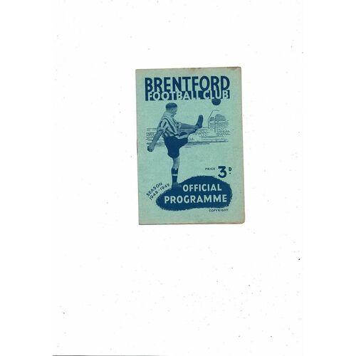 1948/49 Brentford v Southampton Football Programme