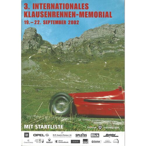2002 Klausenrennen-Memorial (3rd International) (19-22/09/2002) Motor Racing Programme and Timing Sheets
