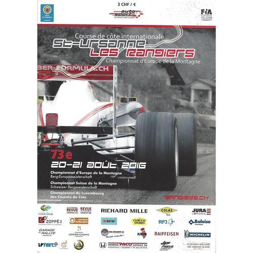 2016 St.-Ursanne Les Rangiers Championnat d'Europe de la Montagne (20-21/08/2016) Motor Racing Programme