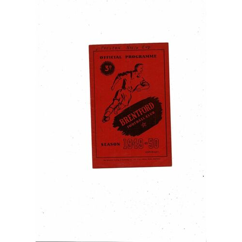 1949/50 Brentford v Preston Football Programme