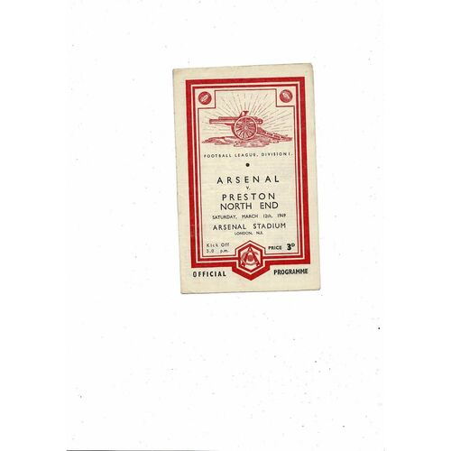 1948/49 Arsenal v Preston Football Programme
