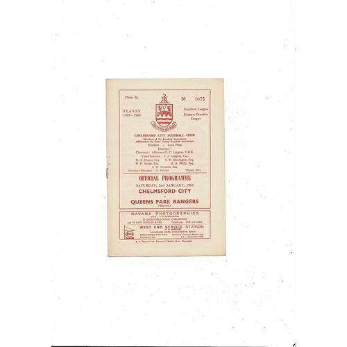 Chelmsford City v Queens Park Rangers Friendly Football Programme 1959/60