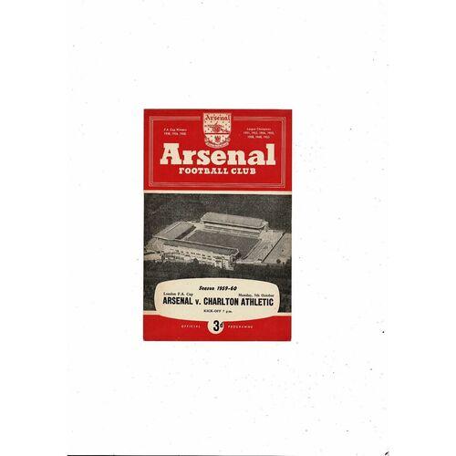 1959/60 Arsenal v Charlton Athletic London Cup Football Programme