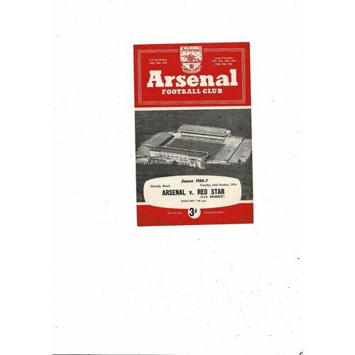 Arsenal v Red Star Friendly Football Programme 1956/57