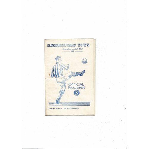 1950/51 Huddersfield Town v Aston Villa Football Programme