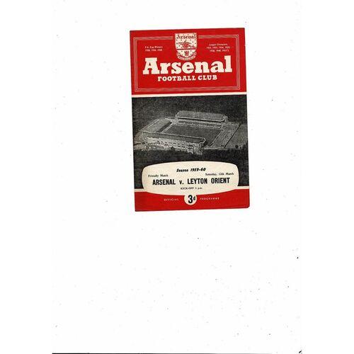 Arsenal v Leyton Orient Friendly Football Programme1959/60