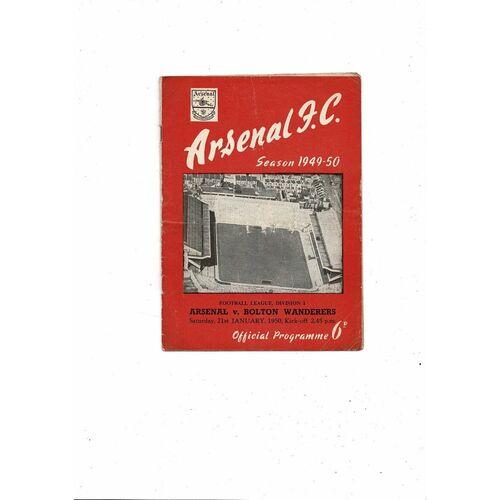 1949/50 Arsenal v Bolton Wanderers Football Programme