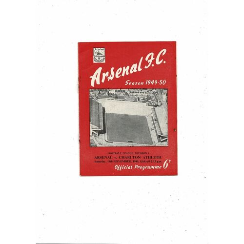 1949/50 Arsenal v Charlton Athletic Football Programme