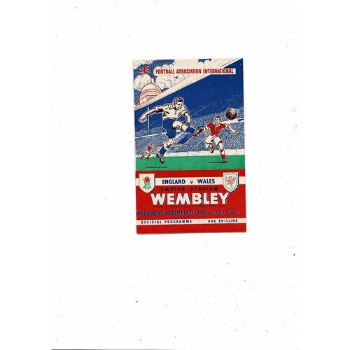 1952 England v Wales Football Programme