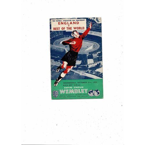 1953 England v Rest of the World Football Programme