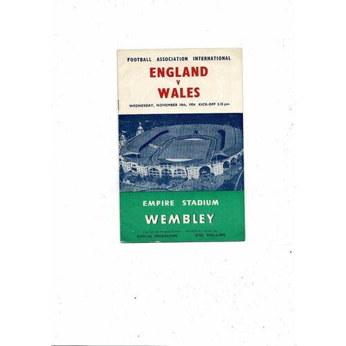 1954 England v Wales Football Programme