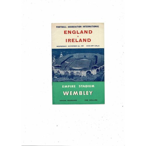 1957 England v Northern Ireland Football Programme