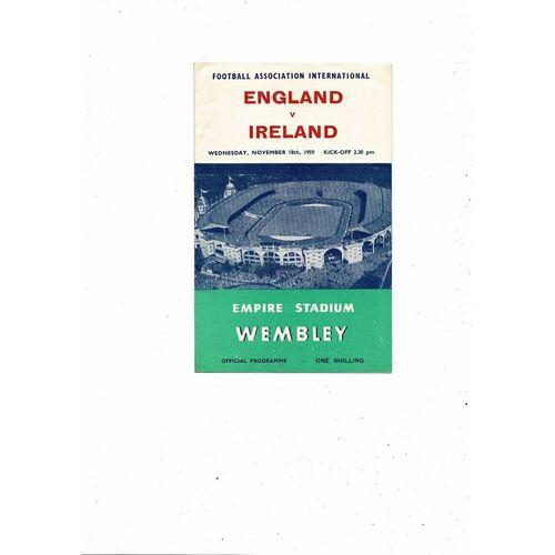 1959 England v Northern Ireland Football Programme.