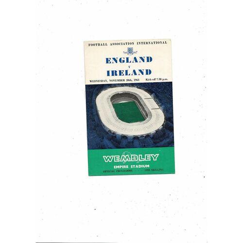 1963 England v Northern Ireland Football Programme