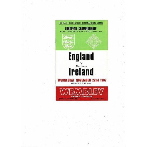 1967 England v Northern Ireland Football Programme