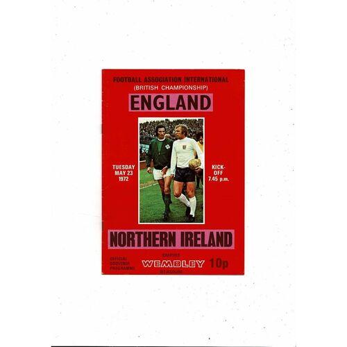 1972 England v Northern Ireland Football Programme