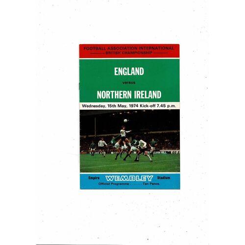 1974 England v Northern Ireland Football Programme