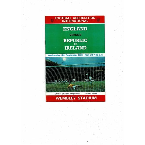 1976 England v Republic of Ireland Football Programme