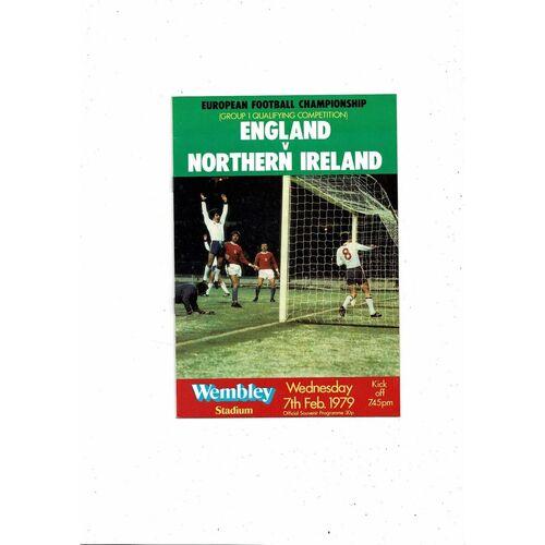 1979 England v Northern Ireland Football Programme