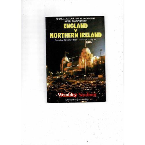 1980 England v Northern Ireland Football Programme