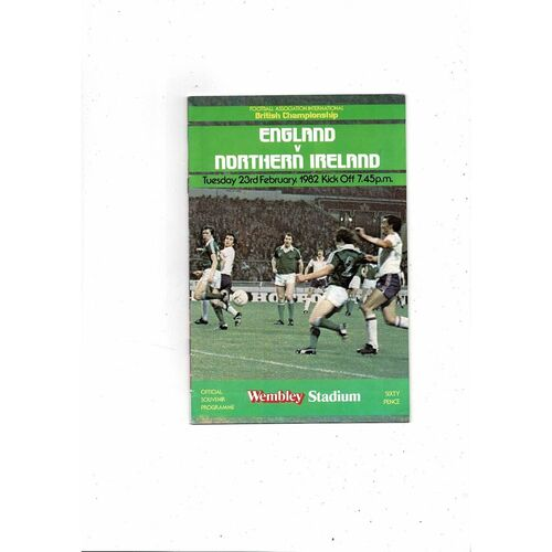 1982 England v Northern Ireland Football Programme