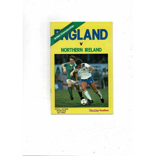 1984 England v Northern Ireland Football Programme