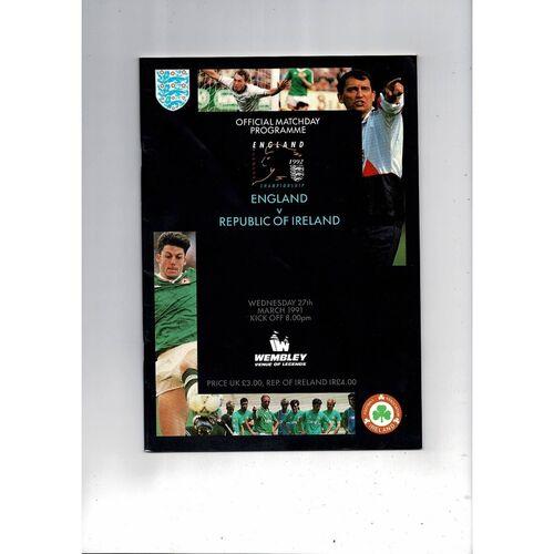 1991 England v Republic of Ireland Football Programme