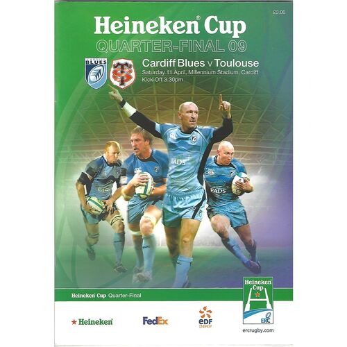 2009 Cardiff Blues v Toulouse Heineken Cup Quarter Final Rugby Union Programme & Match Ticket