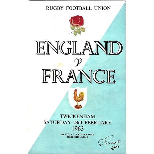 1963 England v France v Five Nations Rugby Union Programme