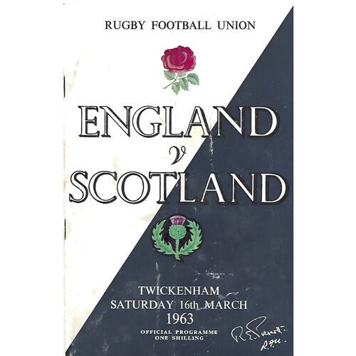1963 England v Scotland Five Nations Rugby Union Programme