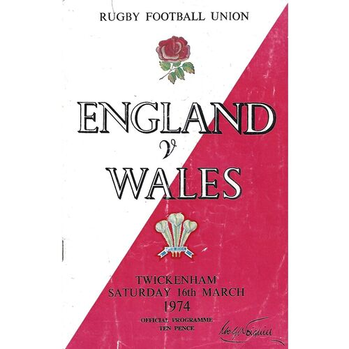 1974 England v Wales Five Nations Rugby Union Programme