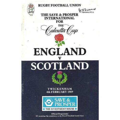 1989 England v Scotland Five Nations Rugby Union Programme